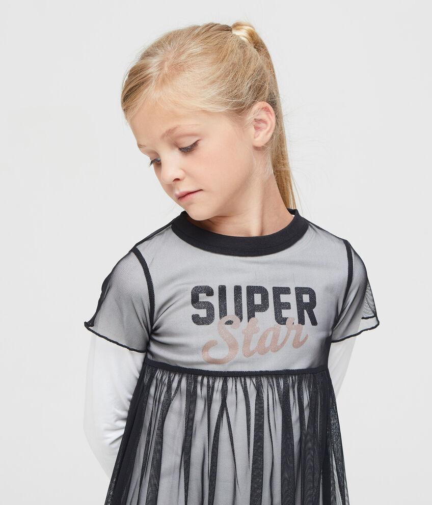 T-shirt maniche lunghe con tulle