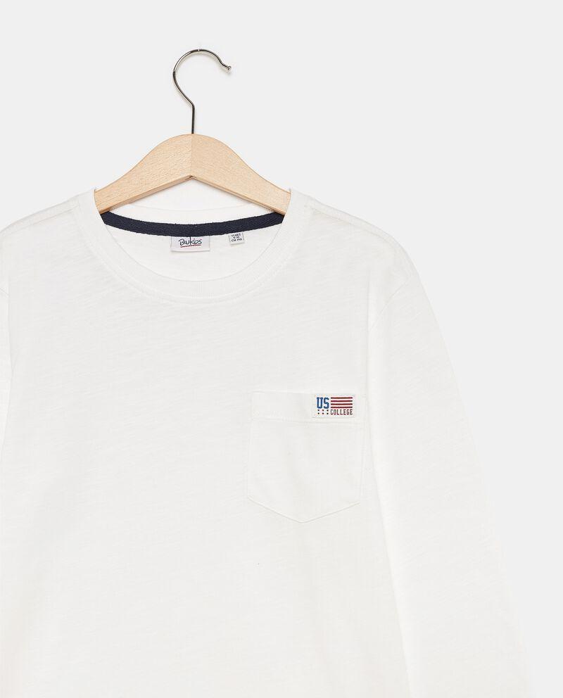 T-shirt di cotone organico con taschino ragazzo single tile 1