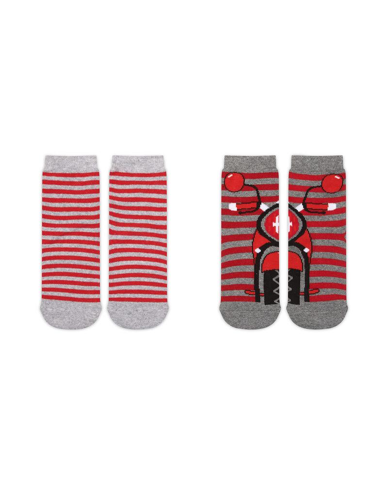 Set due calze antiscivolo righe e moto