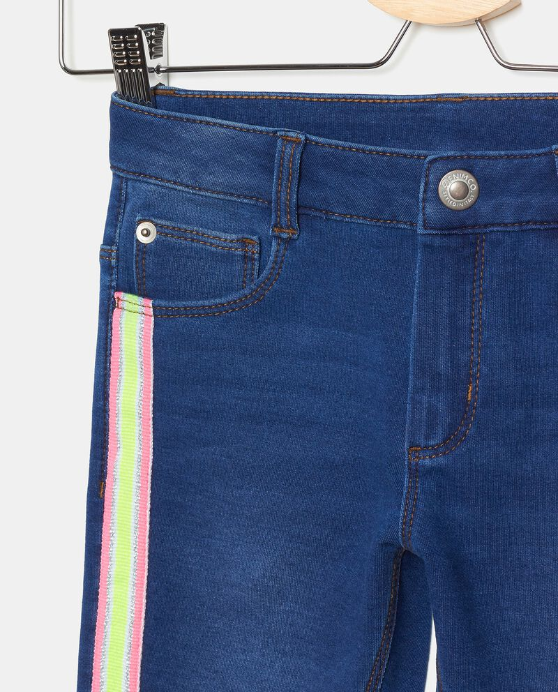 Jeans di cotone elasticato con bande bambina