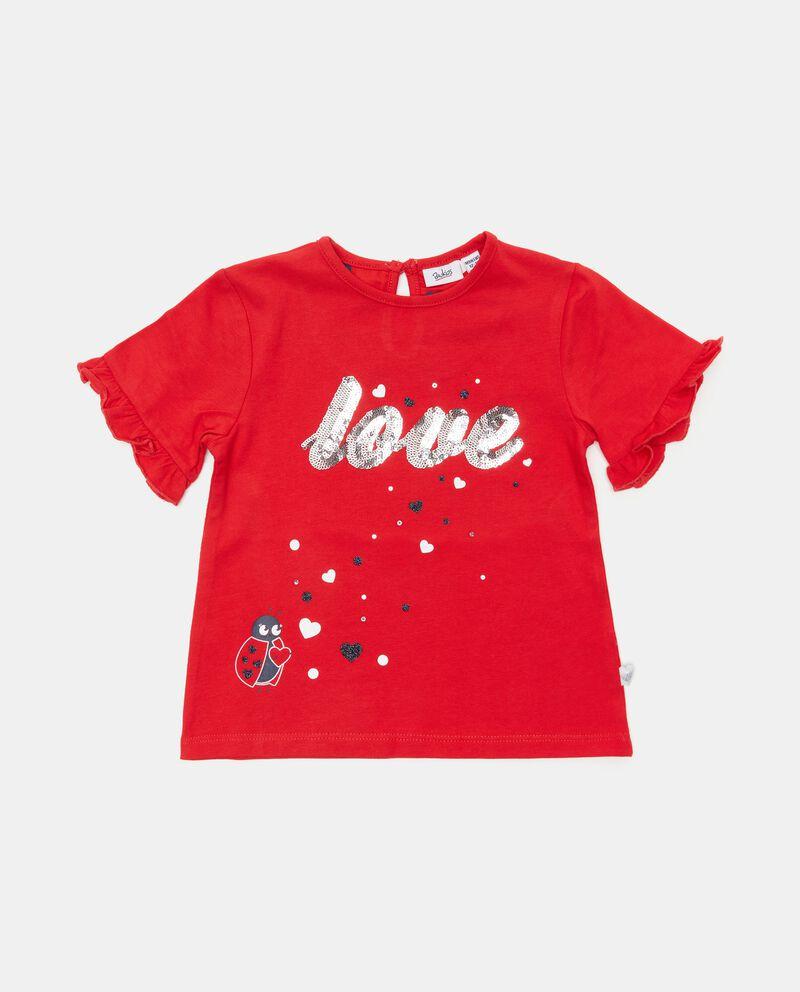 T-shirt in cotone organico con paillettes neonata