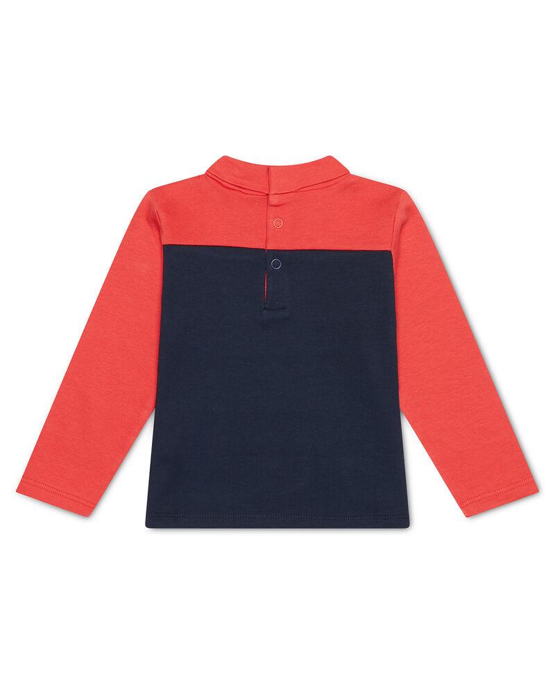 T-shirt cotone bicolore con collo alto