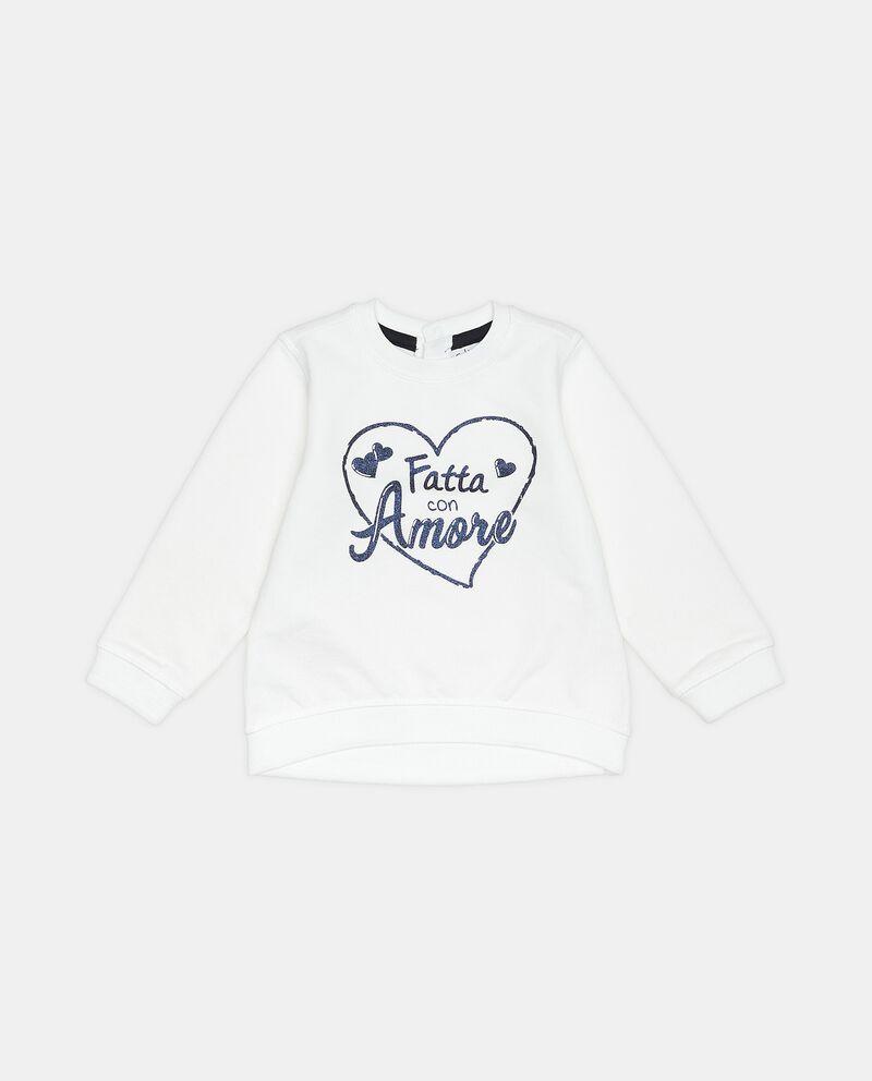 Felpa con lettering in puro cotone neonata