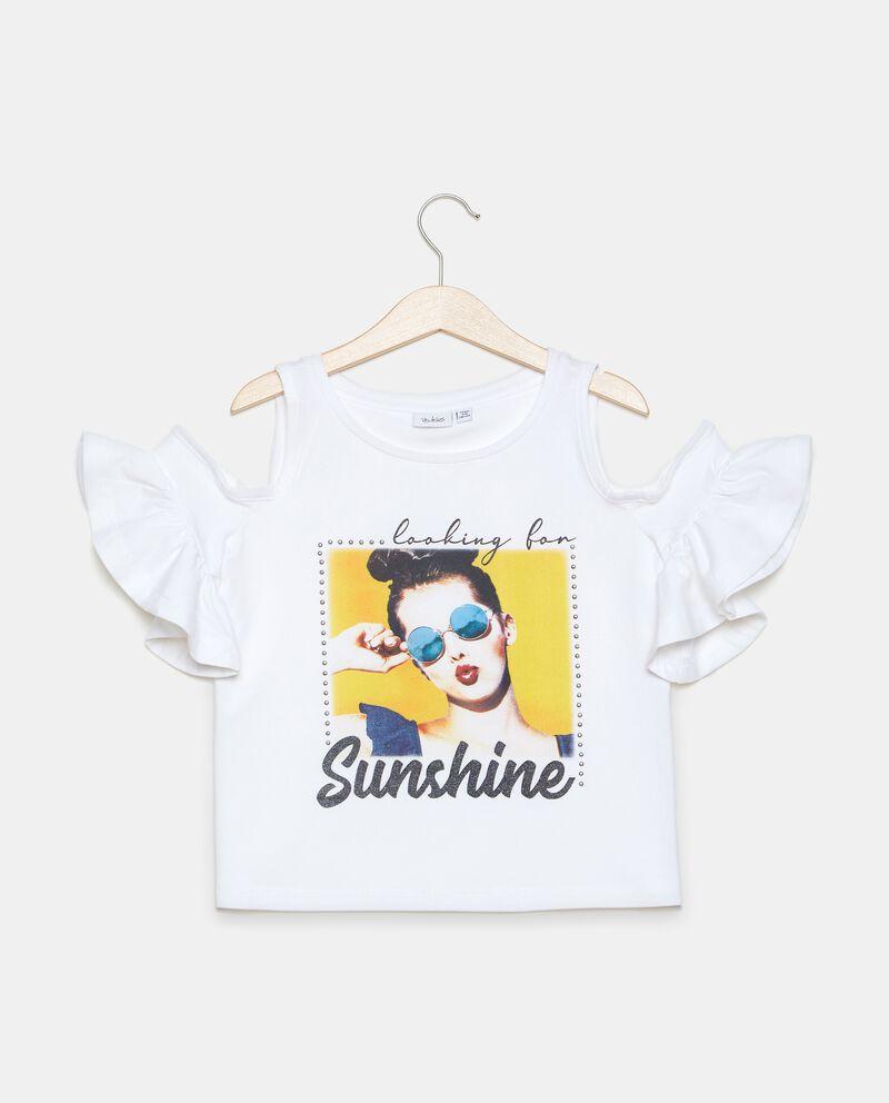 T-shirt in jersey stretch cotone organico con spalle scoperte ragazza