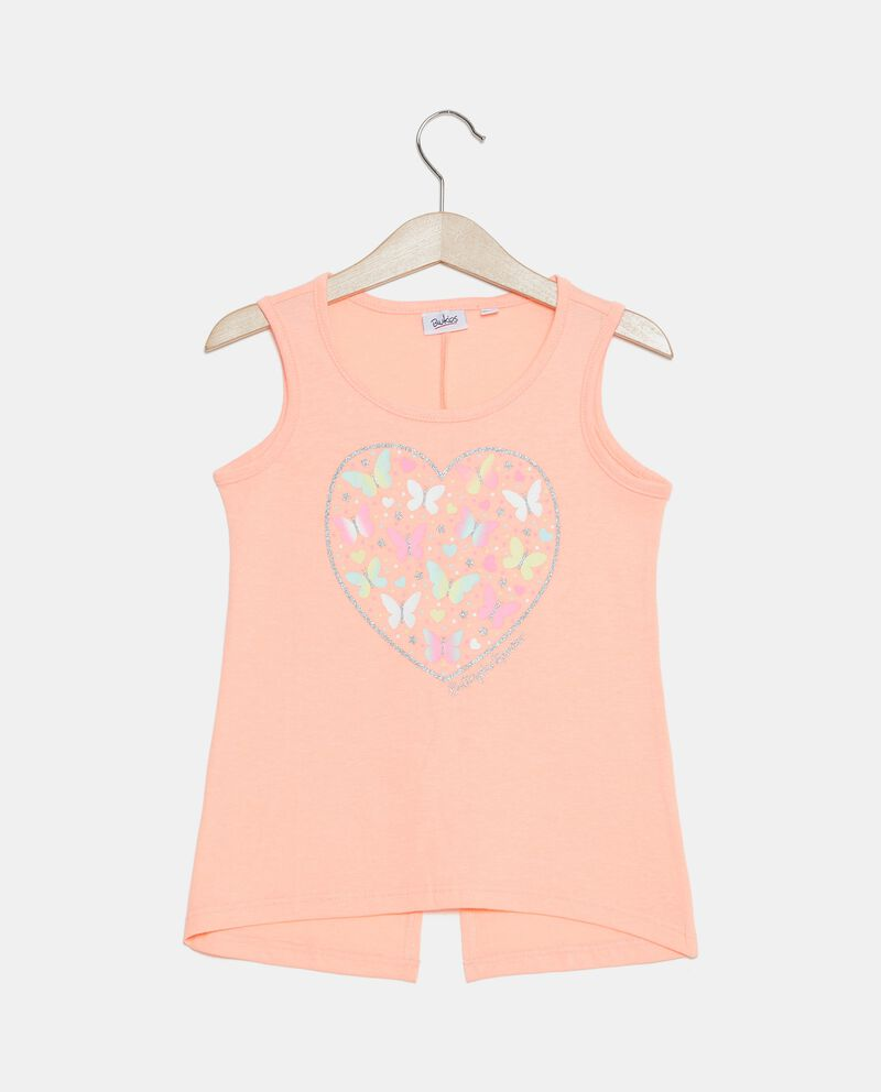 Top smanicato in jersey con stampa bambina