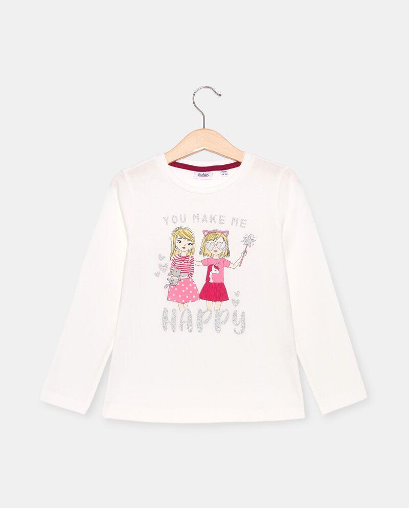 T-shirt con stampa e glitter in cotone organico bambinadouble bordered 0