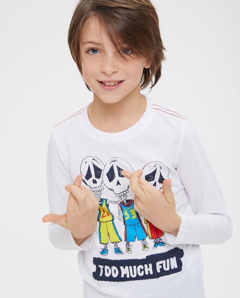 T-shirt in cotone stampa scheletri