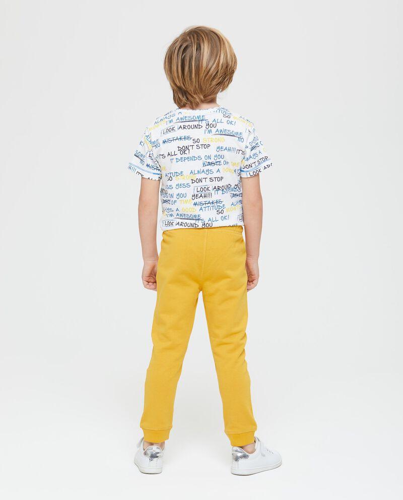 Pantaloni cotone coulisse a contrasto