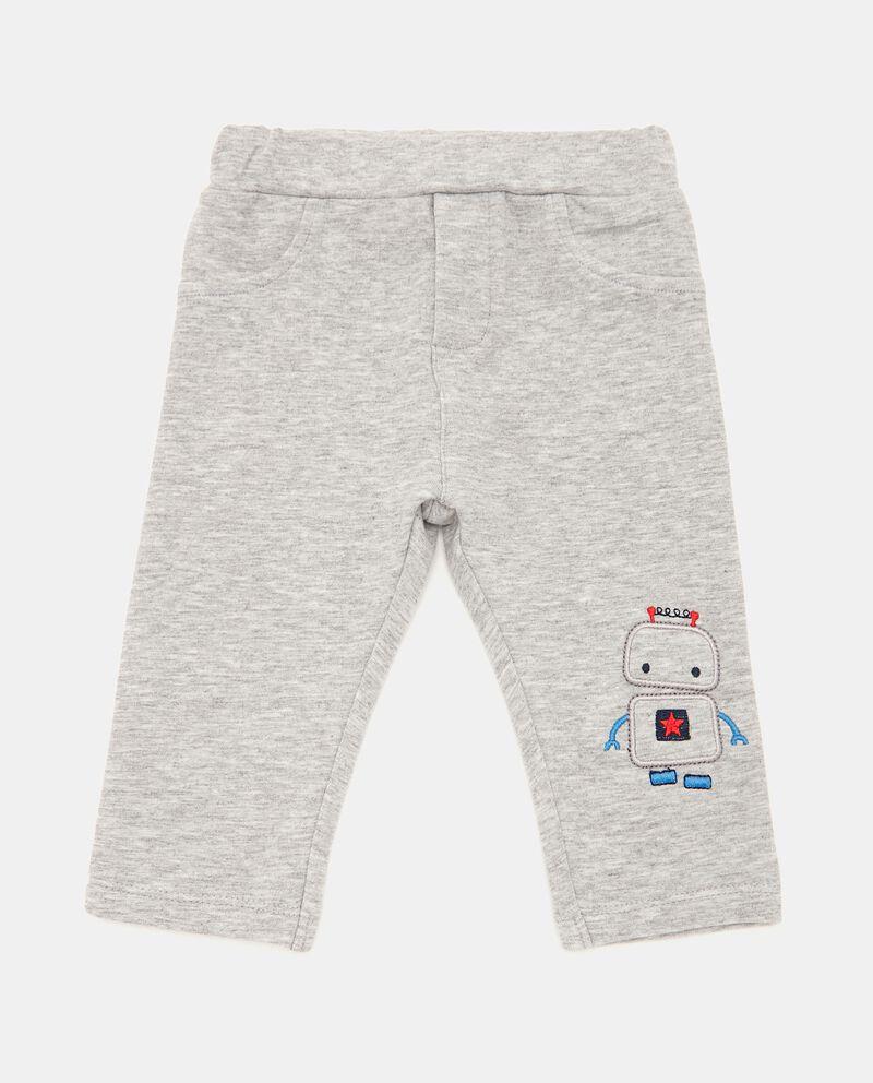 Pantaloni mélange con patch neonato