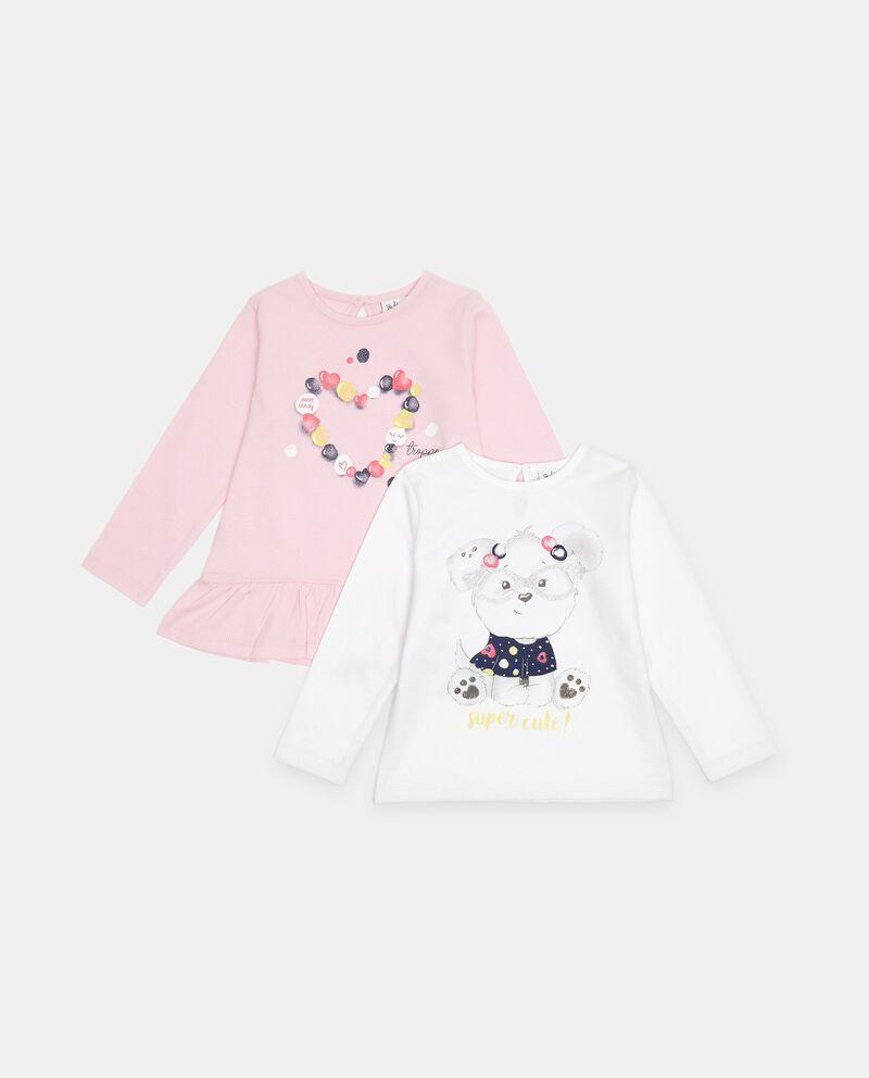 Bipack t-shirt in cotone organico con balza neonata