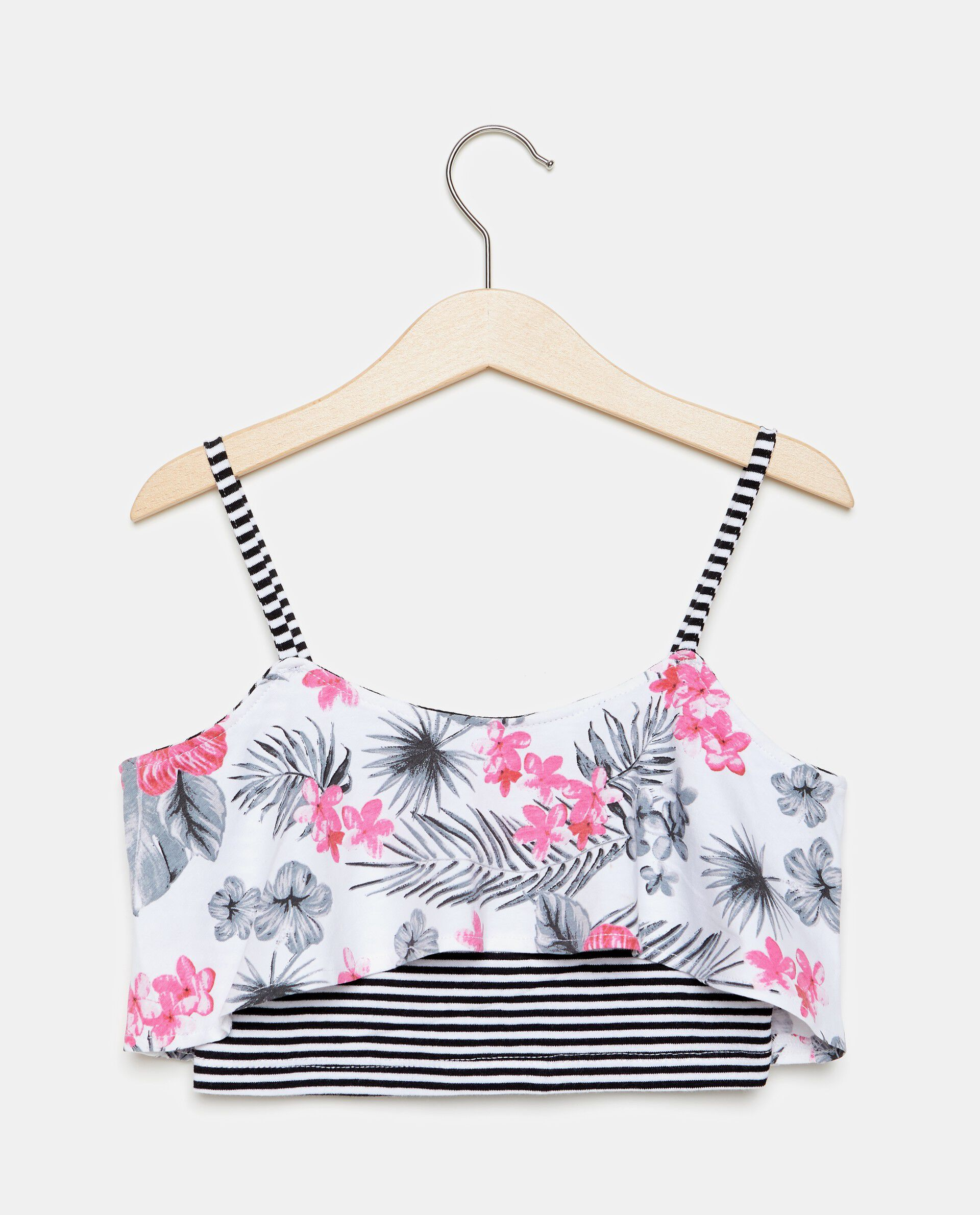 Tank top crop a righe inserto floreale