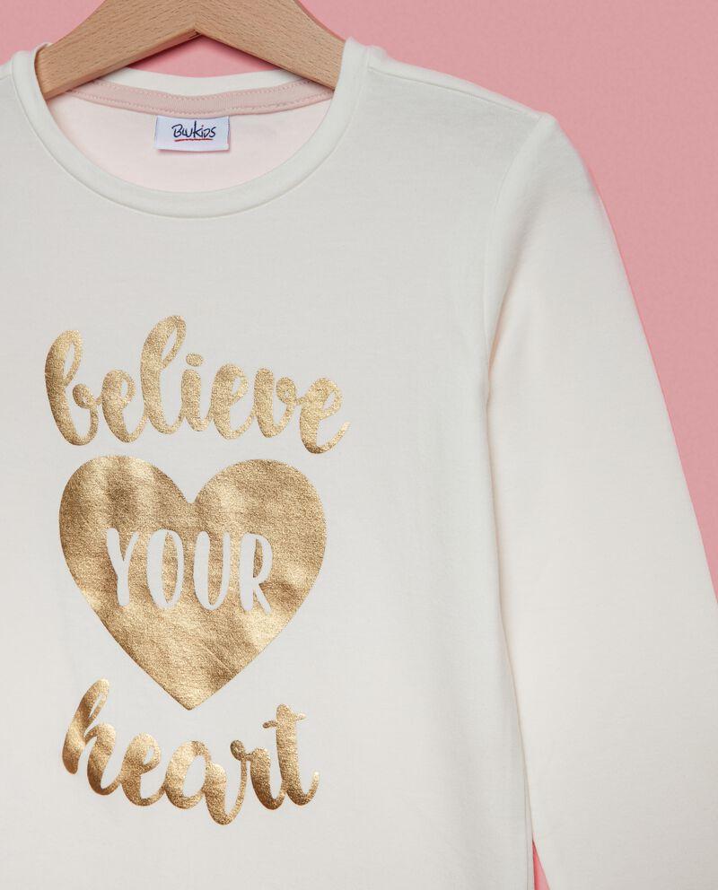 T-shirt con lettering maniche lunghe bambina