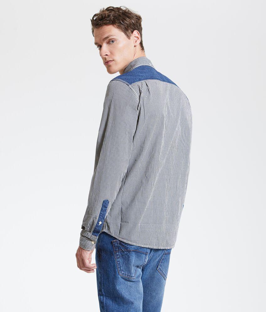 Camicia a quadri con inserti in denim uomo