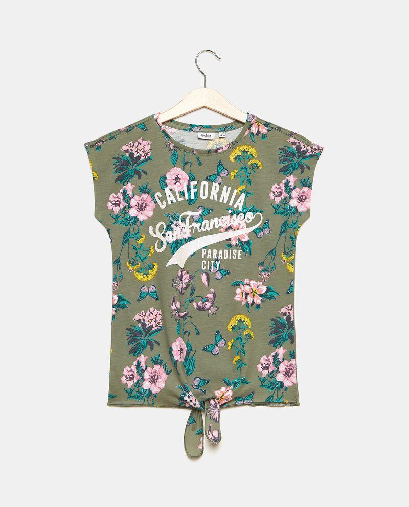 T-shirt in jersey cotone organico con stampa ragazza
