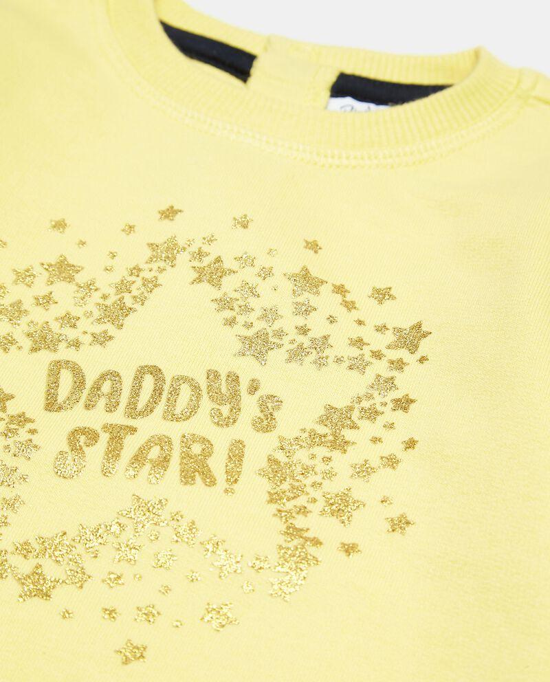 Felpa con stampa in glitter in puro cotone neonata