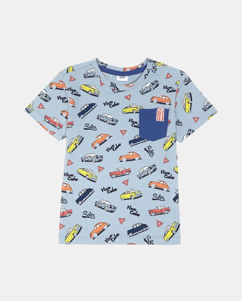 T-shirt in cotone con taschino fantasia