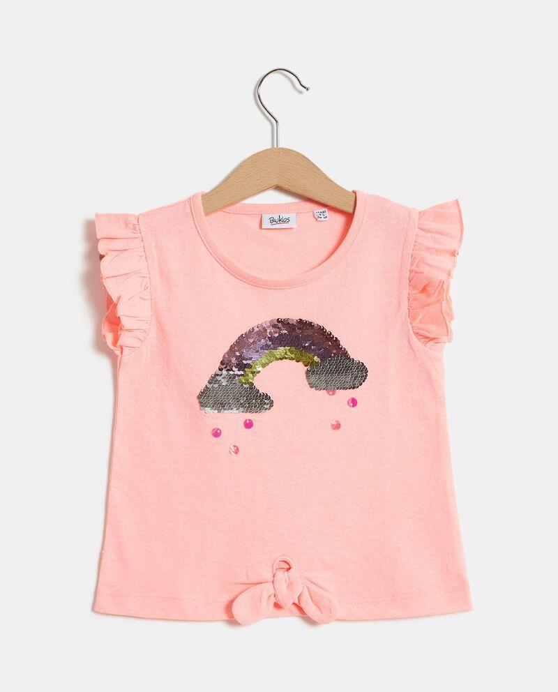 Top smanicato di cotone organico jersey bambina