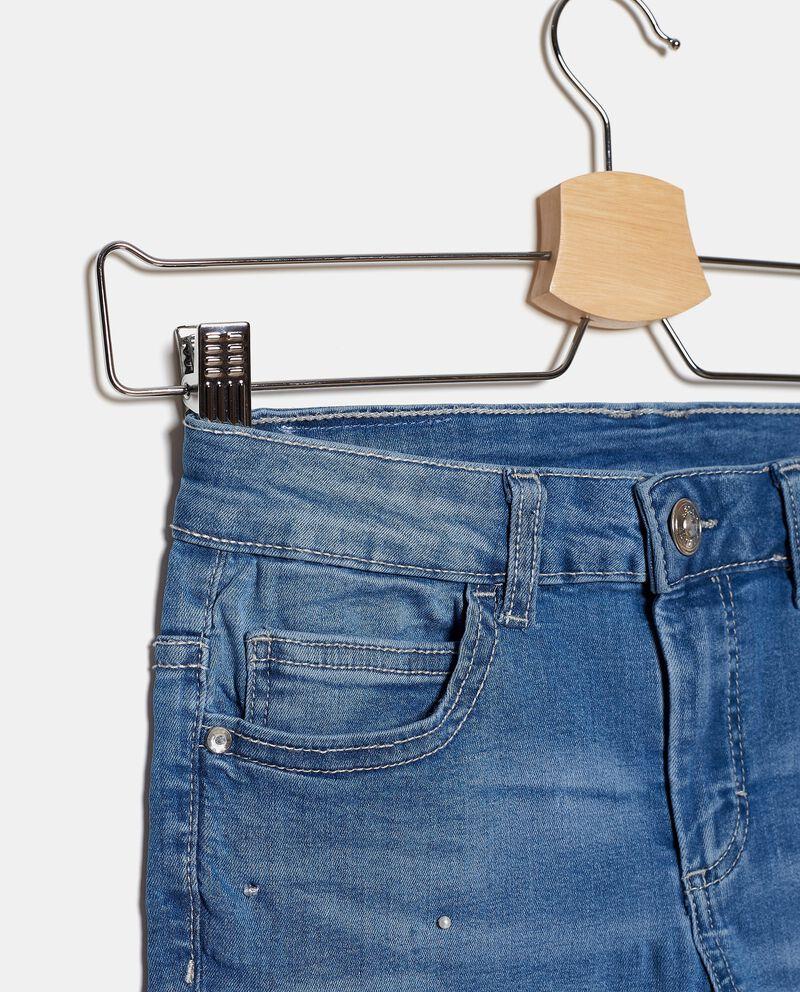 Jeans in cotone stretch con perle ragazza single tile 1