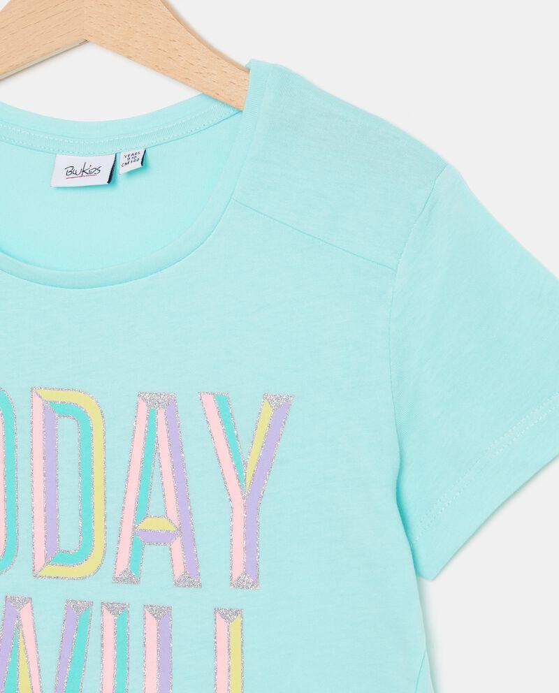 T-shirt in puro cotone con lettering ragazza single tile 1
