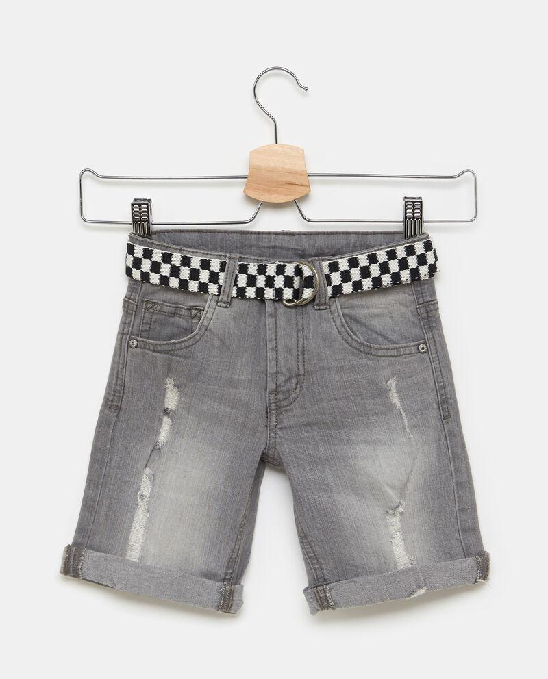Shorts in denim stretch con cintura