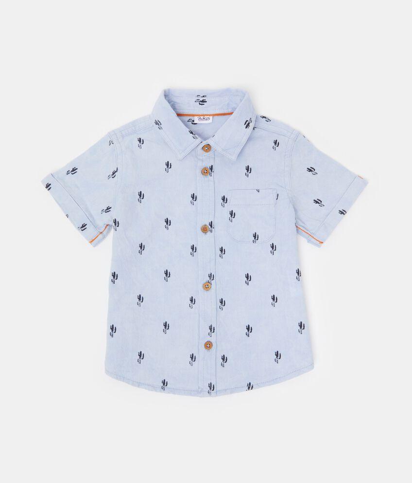 Camicia a maniche corte con fantasia neonato