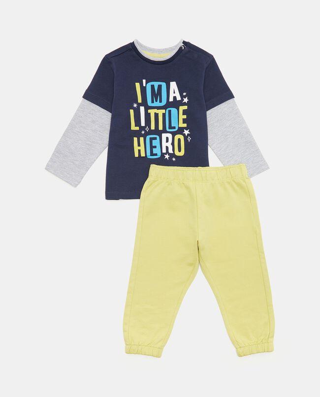 Set jogging con maglia e pantaloni in puro cotone biologico neonato