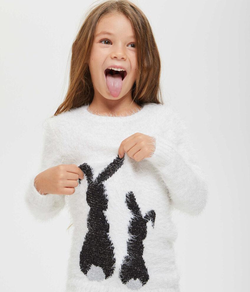 Pullover con lurex coniglietti