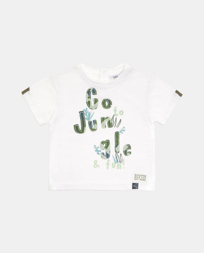 T-shirt in puro cotone con lettering neonato