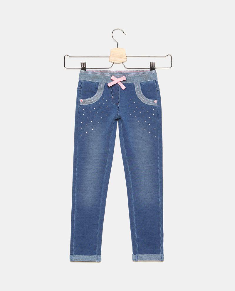 Jeggings in cotone elasticato con strass bambina