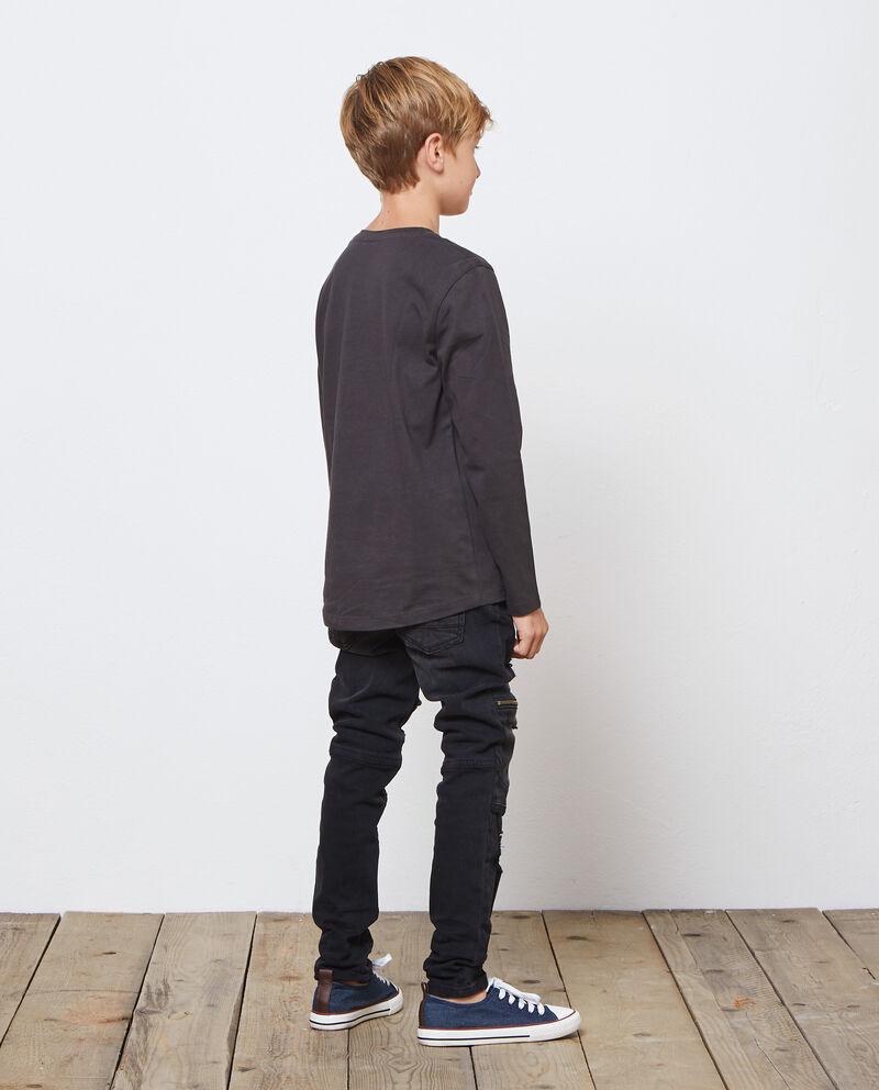 T-shirt in cotone tinta unita lettering