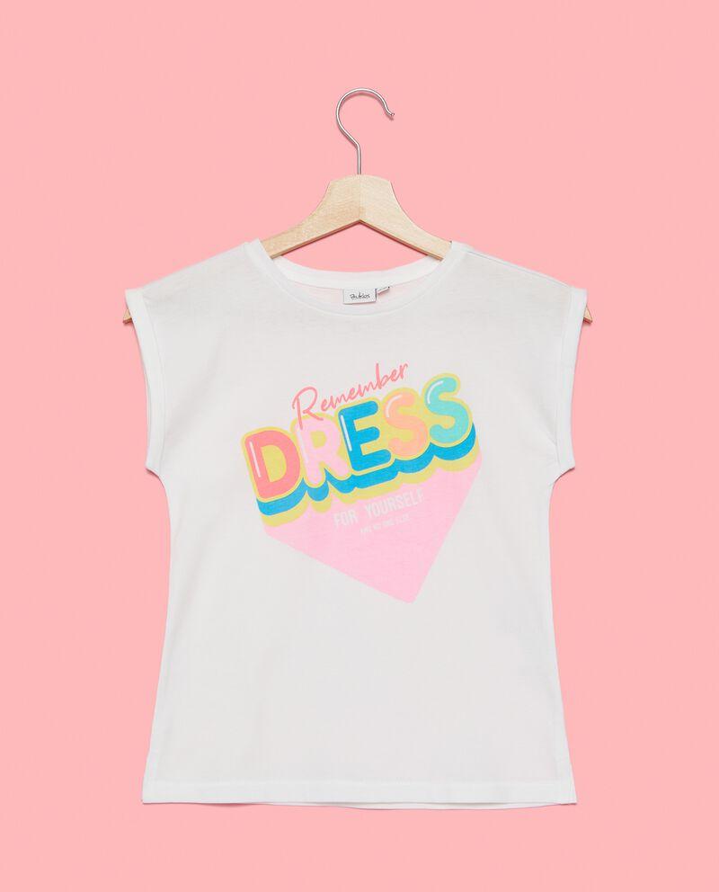 T-shirt stampata in puro cotone ragazza cover
