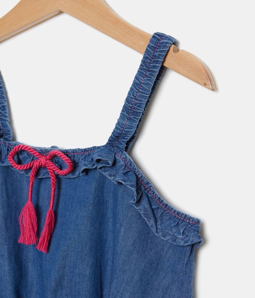 Blusa smanicata in puro cotone effetto denim ragazza