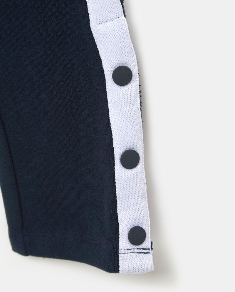 Pantaloni in puro cotone con bande laterali e bottoni ragazzo