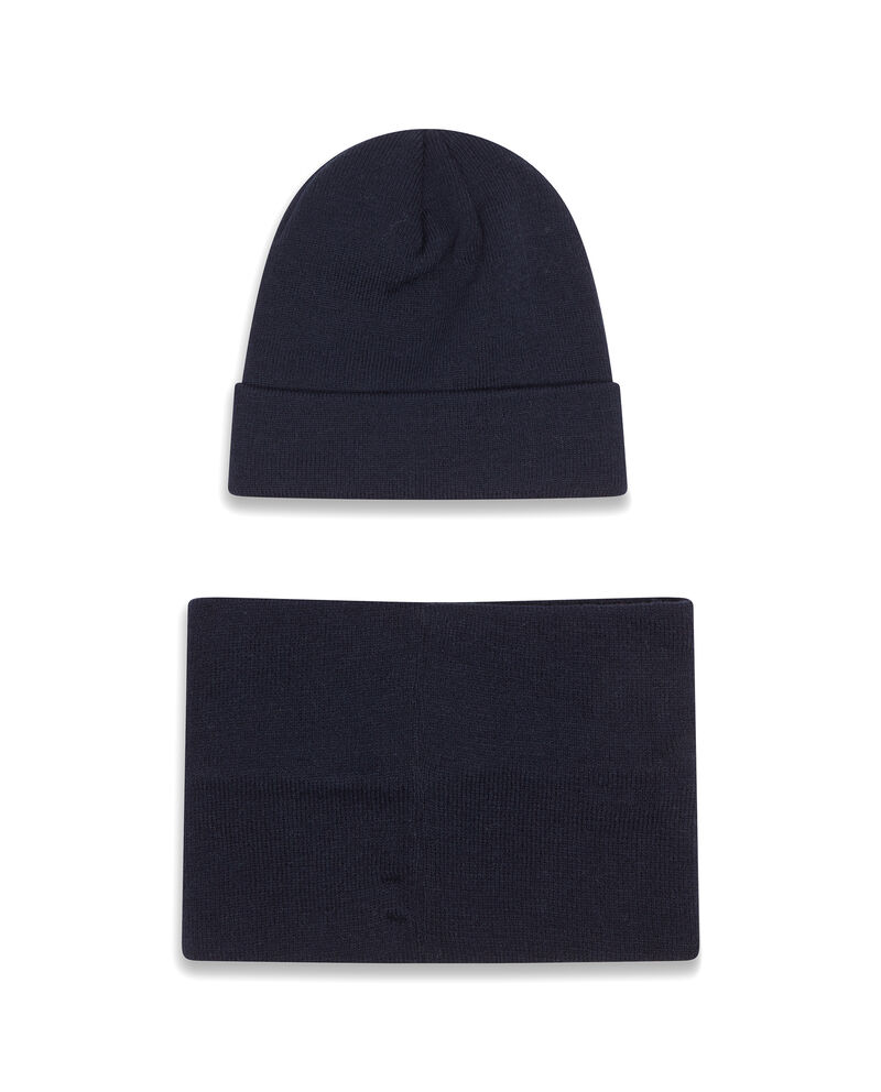 Set cappello e sciarpa a collo tinta unita