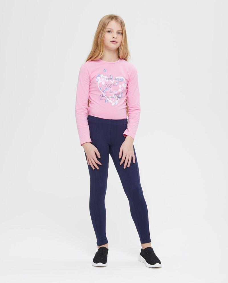 Leggings in cotone stretch tinta unita