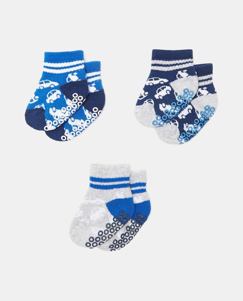 Set con 3 paia di calzini antiscivolo di cotone organico neonato cover