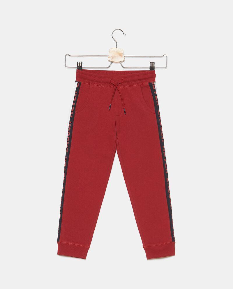 Pantaloni in puro cotone con bande in lettering bambino