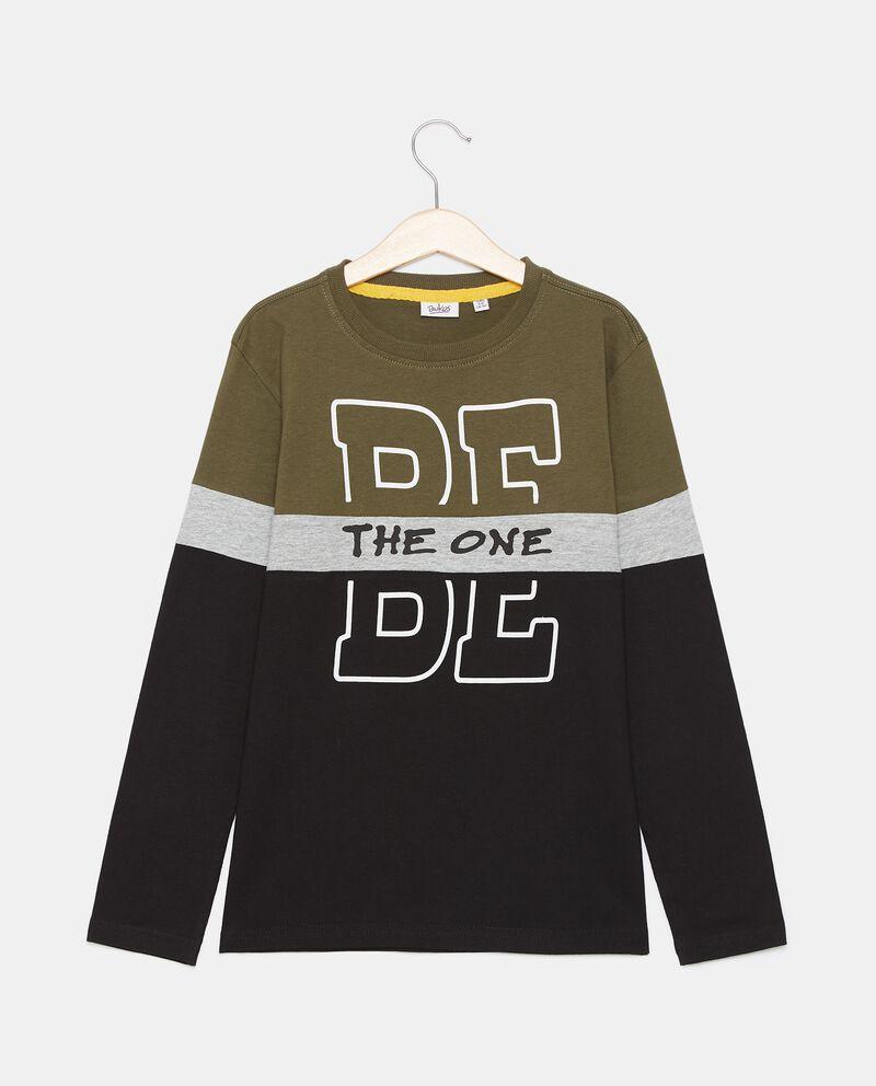 T-shirt in cotone organico jersey con stampa ragazzodouble bordered 0