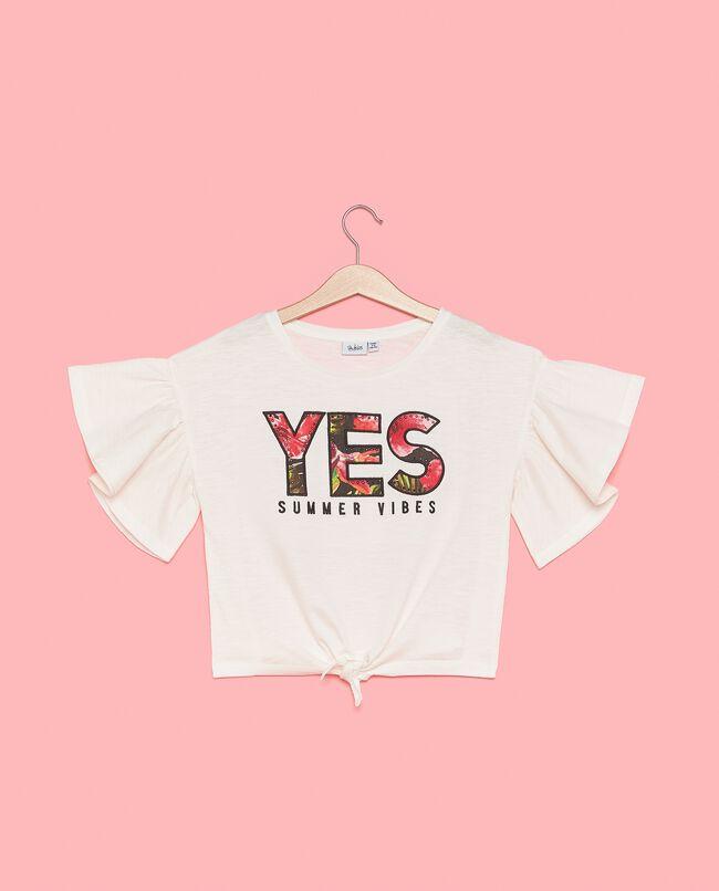T-shirt con maniche con volant in puro cotone ragazza