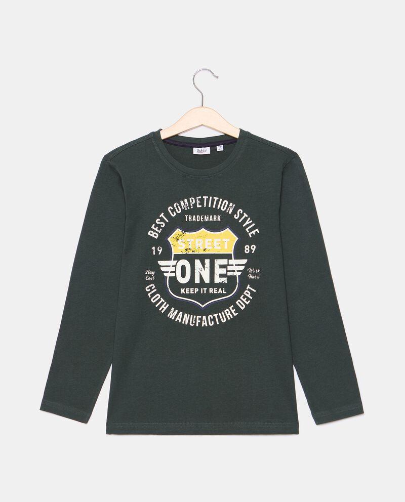 T-shirt di cotone organico con stampa ragazzo cover