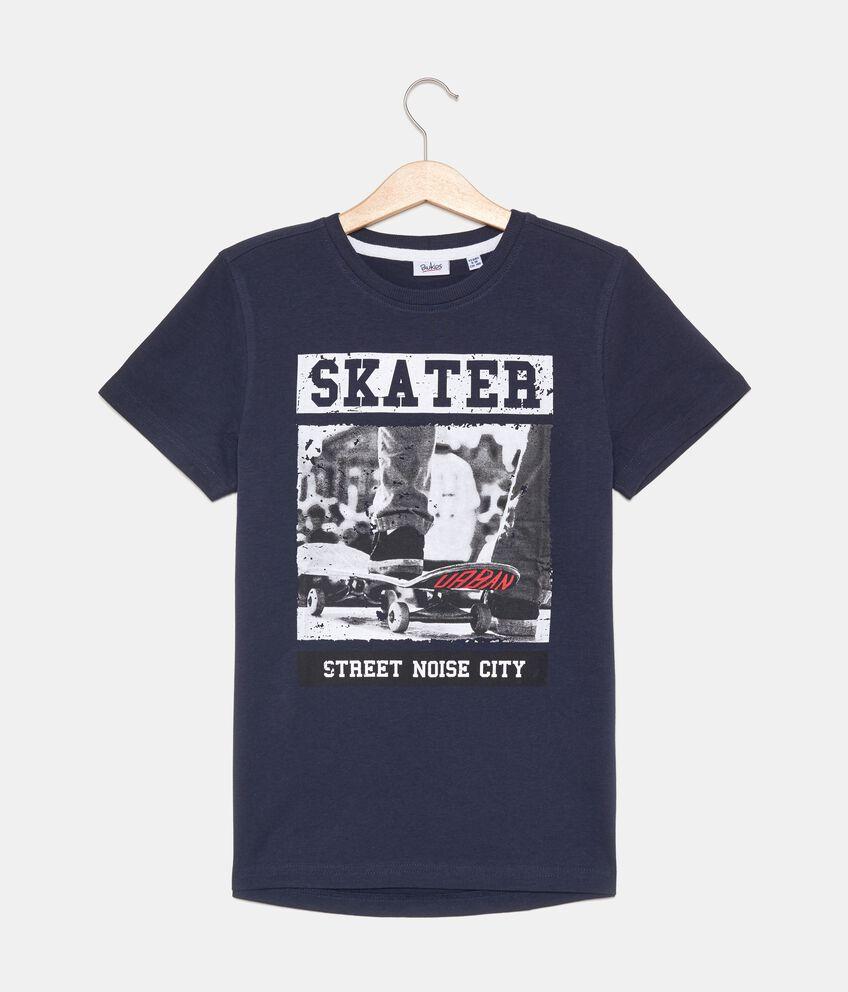 T-shirt con stampa e lettering in puro cotone ragazzo