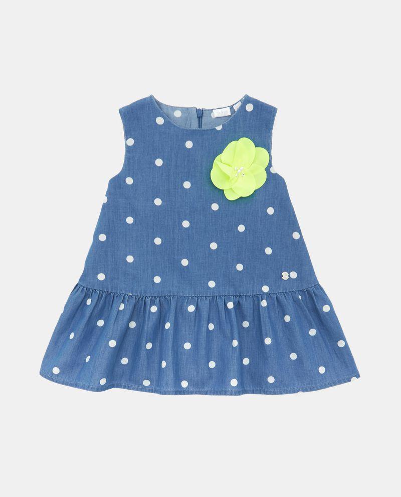 Vestito denim con motivo a pois in cotone organico neonata cover
