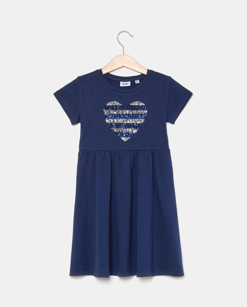 Vestito bambina in cotone biologico jersey stretch con cuore di paillettes.