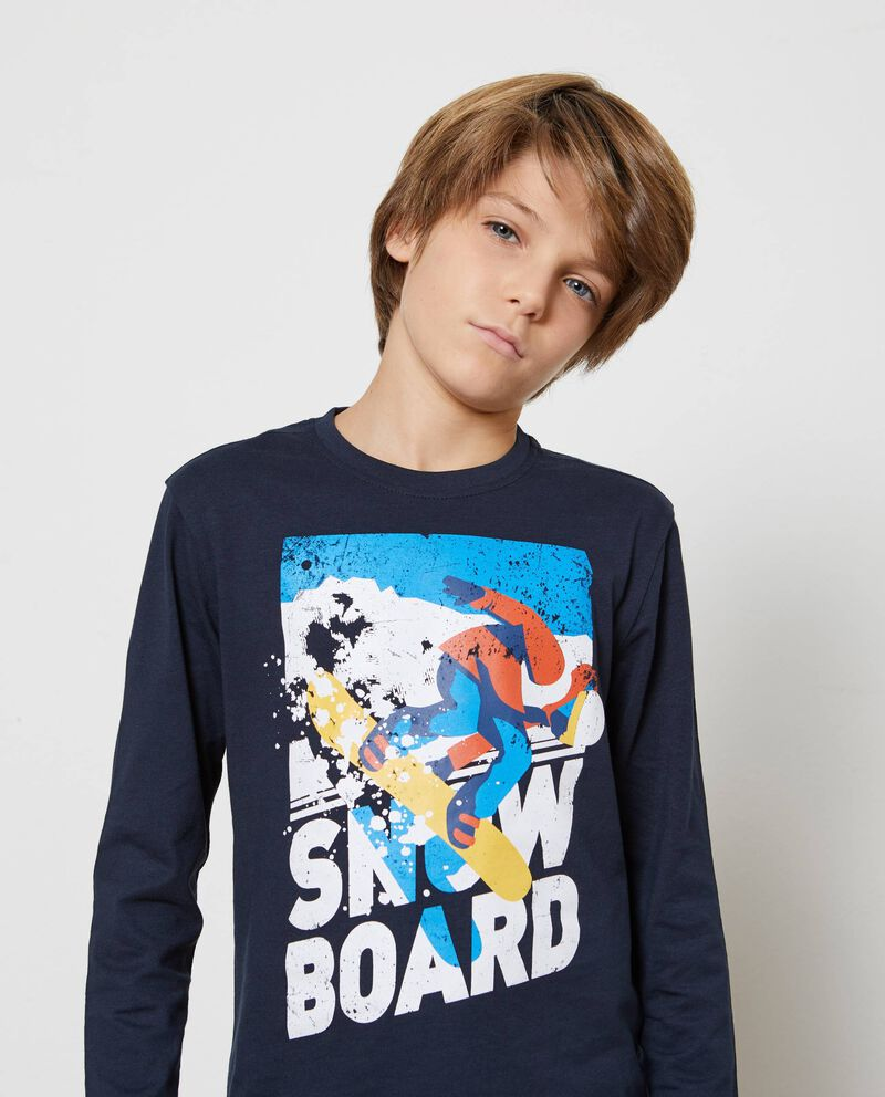 T-shirt puro cotone stampa snowboard