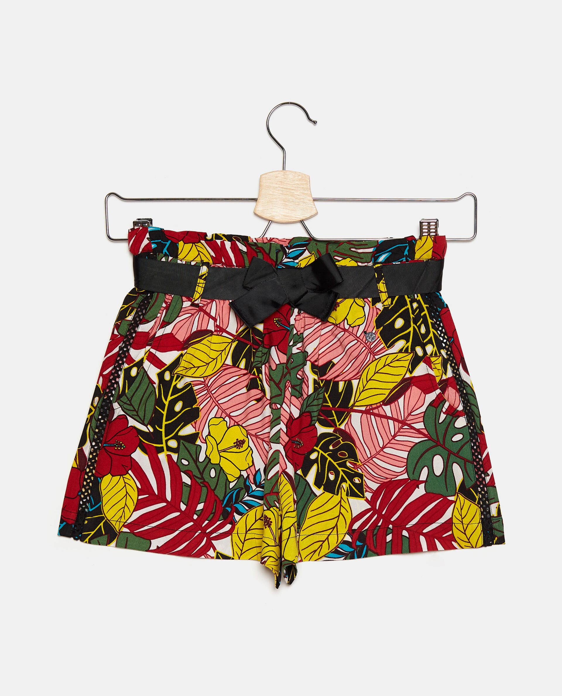 Shorts in viscosa con stampa tropicale ragazza