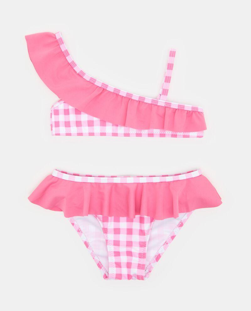 Bikini rosa con motivo a quadretti e volant bambina