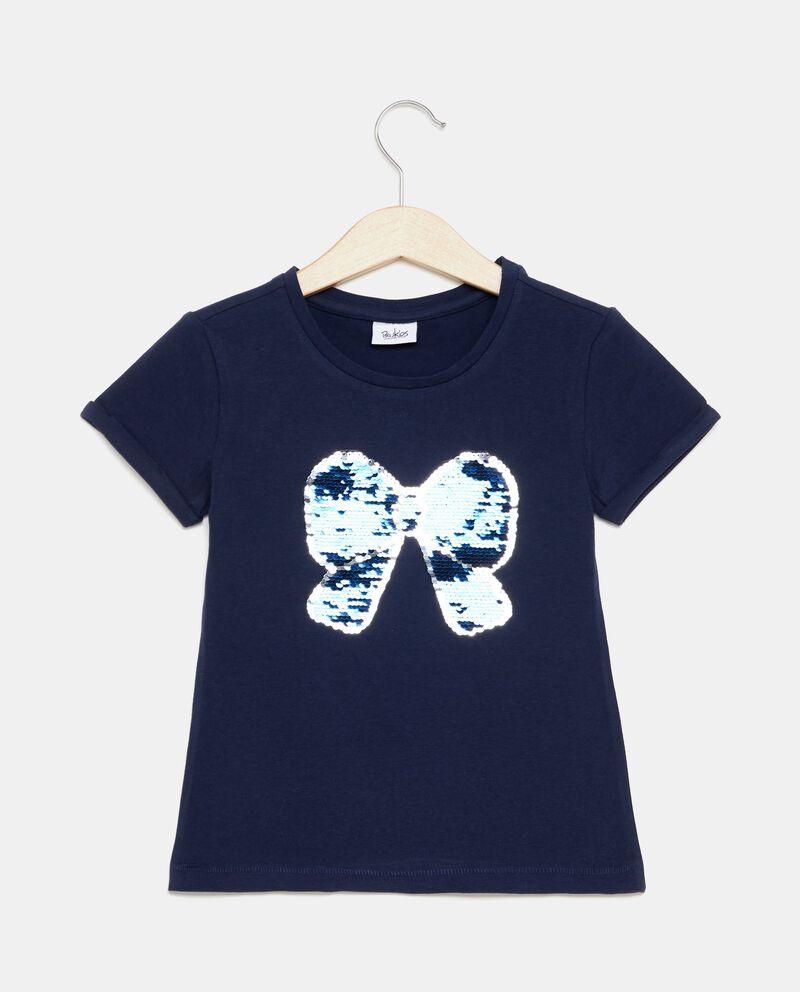 T-shirt in puro cotone con fiocco in paillettes ragazzo