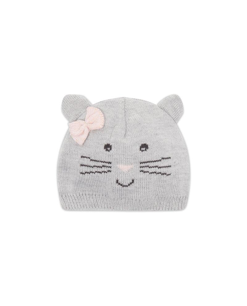 Cappello a cuffia ricami gattino