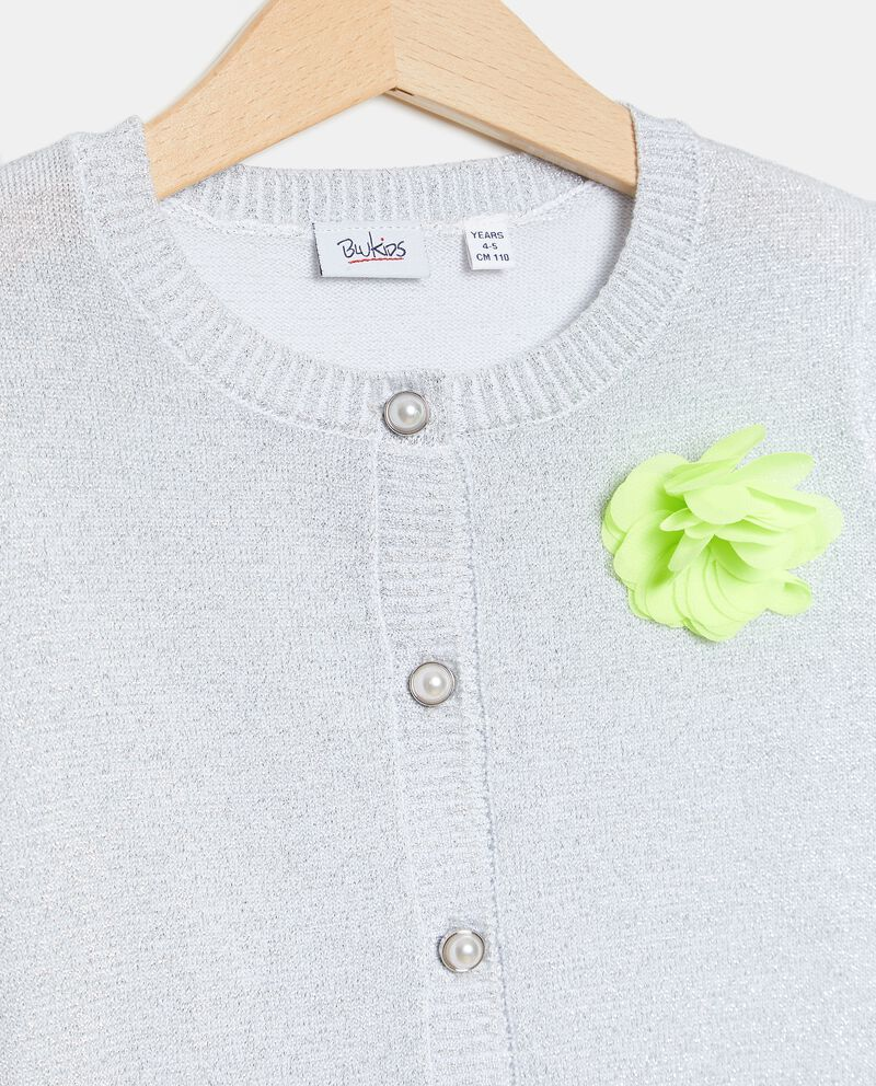 Cardigan con filo lurex in cotone stretch bambina