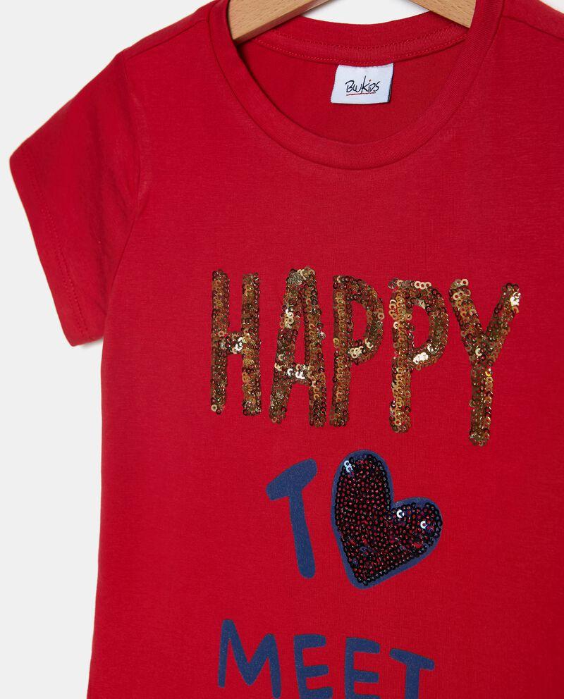 T-shirt in tinta unita stampata con ruche bambina